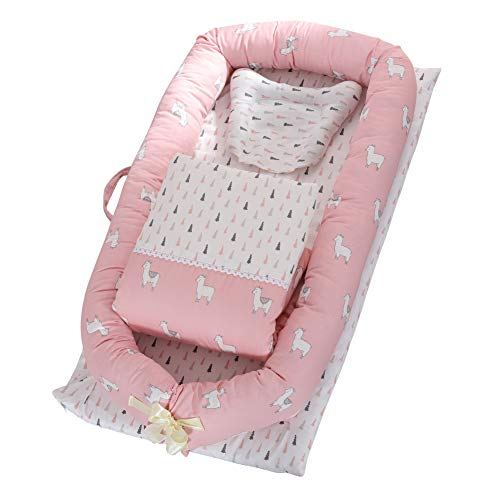 Toys Studio Baby Lounger for Newborn, Baby Nest, Soft Cotton Baby Bassinet for Bed Portable Baby Co-Sleeping Cribs & Cradles Lounger Cushion for Bedroom Travel (Alpaca) A Baby Newborn Quilt