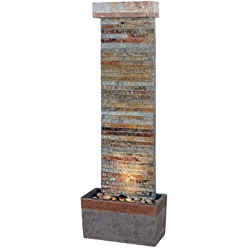 Kenroy Home #50293SLCOP Tacora Horizontal Indoor/Outdoor Floor Fountain In Natural  Slate Finish With
