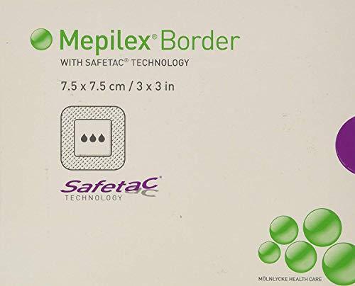 (Mepilex Border Self-Adherent Absorbent Foam Dressing - Size 3 x 3 - Box of 5 (4 Pack) )