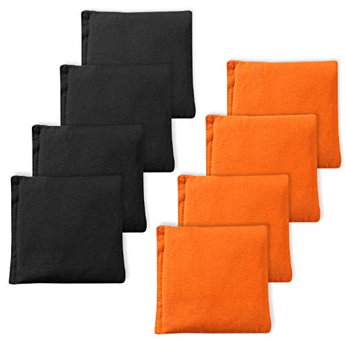 EXERCISE N PLAY Premium Weather Resistant Official Size ACA Regulation Duck Cloth Cornhole Bags(Set of 8) for Cornhole Bean Bags Toss Game,Black & Orange,Includes Shoulder Bag]()
