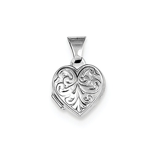 Sterling Silver Rhodium-plated Scrolled Heart -