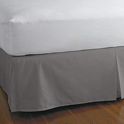 King 15 Inch - KP Linen King Size Split Corner Bed Skirt 15'' Inch Drop - 100% Egyptian Cotton Luxurious & Hypoallergenic Easy to Wash Wrinkle, (Silver Grey, King Size Bed Skirt with 15 inch Drop)