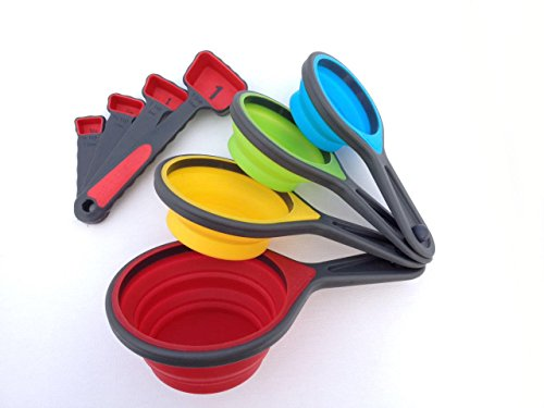 Silicone Collapsible Kitchen Tools set. Includes 4 Measuring Cups & 4 Measuring Spoons. Get Kitchen Measurements Easy! Our Kitchen Gadgets are Great for Kids,Travel,or any Chef who likes to have Fun!