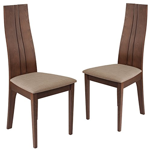 Flash Furniture 2 Pk. Essex Walnut Finish Wood Dining Chair with Magnolia Brown Fabric Seat