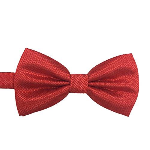 Necktie Silk Pleated (M2cbridge Men's Double Pleated Grid Bow Tie Formal Dress Plain Tie (Red))