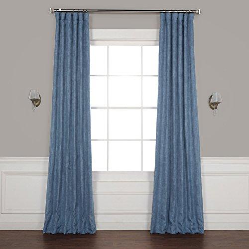 HPD HALF PRICE DRAPES BOCH-LN18512-108 Faux Linen Blackout Room Darkening Curtain, 50 X 108, Denim