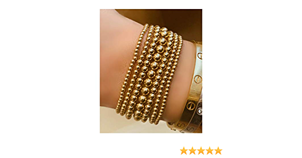 three 14 karat gold filled ball bracelet  black stone bracelet stretch  beads with gold and faceted spinel 4mm balls 14k  gold ball trio