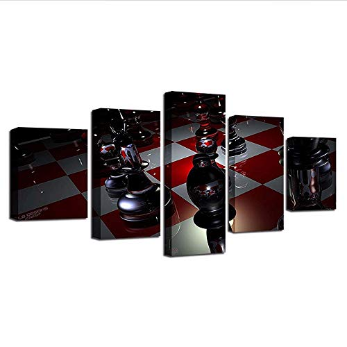 Yyjyxd Home Decor Wall Art 5 Pieces Chess Canvas Painting Game Bedside Background Hd Prints Modular Pictures Artwork Creative Poster,4X6/8/10Inch,Without -