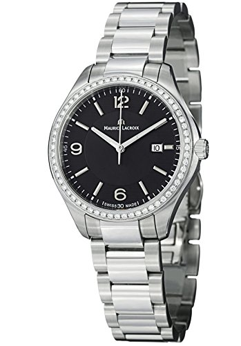 Maurice Lacroix Miros Black Dial Steel Diamond Ladies Watch MI1014-SD502-330