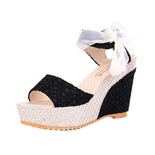 Womens Sandals,Clode® Fashion Ladies Girls Peep Toe Lace Bowknot Wedge Sandals Summer Beach Shoes Black