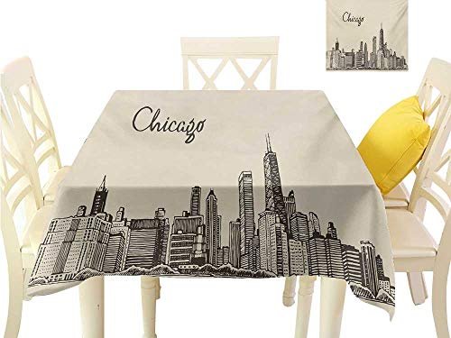 familytaste tablecloths Chicago Skyline,Vintage Style Urban Silhouette Country Culture Architecture Capital,Beige Dark Brown Dining Table Decorations W 50