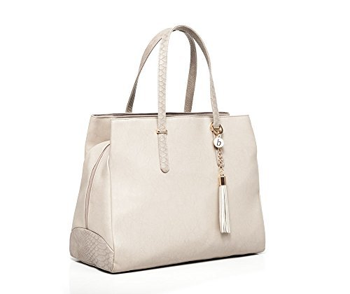 Baby Sense Melaine Mom & Baby Diaper Bag/Handbag | Fashion + Function Purse & Tote Bag | Large Capacity & Lightweight, Change Mat, Stroller Strap, Waterproof Bottle/Travel Organizer (Nude)