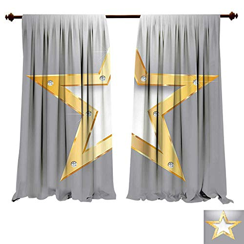 Thermal Insulating Blackout Curtain Diamond Big Star on Metal Plate with Diamonds Hanging in The Air Love Luxury Home Golden and Gray Patterned Drape for Glass Door (W72 x L72 -Inch 2 Panels) ()
