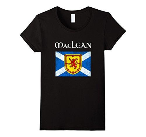 Womens MacLean Scottish Clan T Shirt Coat Arms Lion Flag Large (Scottish Clan Coat Arms)