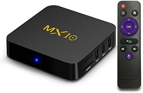 gzcrdz Streaming Media Player, MX10 7.1 de Android TV Box 4 GB + 32 GB, Smart TV Box Apoyo 2,4 G Wifi Video de hdr con cuatro núcleos de 64 bits, 3d,