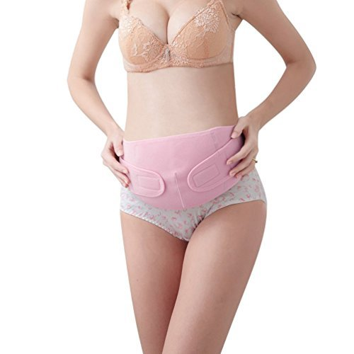 Maternity Belt Back Support Belly Band During Pregnancy - Breathable Abdominal Binder Elastic Cotton and Spandex -Soft Comfortable One Size All FIt - Belly Brace Velcro Attachments by Digold Pink