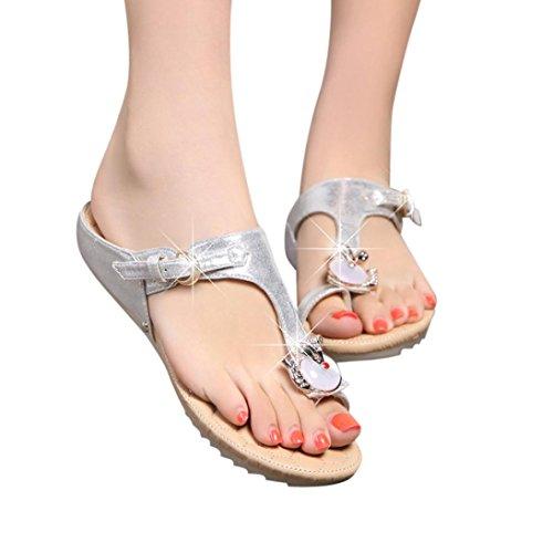 Caopixx Women Flip Flops, Ladies Girls Rhinestone Flat Heel Anti Skidding Beach Sandals Leather Flip Flops Slipper (Asia Size 35, Silver)