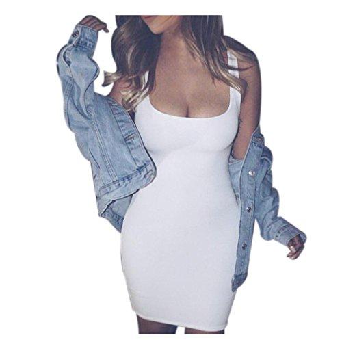 (Gotd Women Sleeveless Bodycon Party Cocktail Club Short Mini Dress (L, White))