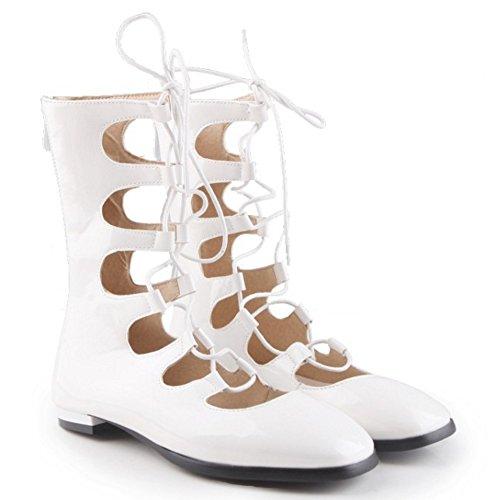 COOLCEPT Mujer Moda Cordones Bombas Zapato Cerrado Planos Verano Boots Hueco Zapatos With Cremallera Blanco