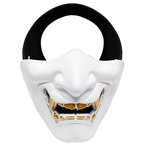 Pawaca Half Face Mask, Halloween Mask for Cosplay Costume Party Movie Prop Airsoft Paintball BB Gun CS Game Hunting Shooting -