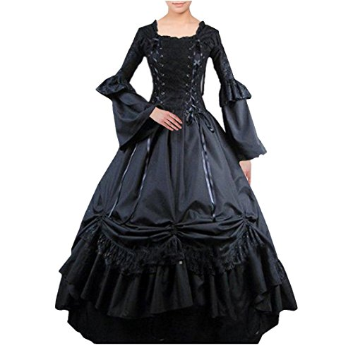 [Partiss Women Lace Bandage Square Collar Gothic Victorian Dress M,Black] (Comic Con Costumes For Females)