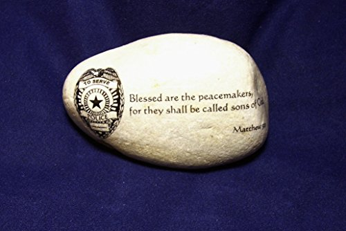 Police Officer Stone gift Bible verse Blessed are the peacemakers Matthew 5:9