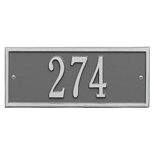 "Whitehall Personalized Cast Metal Address Plaque - Small Hartford Custom House Number Sign - 10.5"" x 4.25"" - Allows Special Characters - Pewter/Silver"
