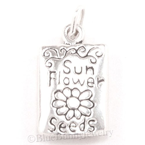 SUNFLOWER Charm SEED GARDEN PACKET Pendant Sterling Silver .925 925 Solid 3D Jewelry Making Supply Pendant Bracelet DIY Crafting by Wholesale Charms