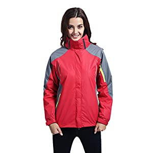 Leajoy Women's Waterproof Outdoor 3-IN-1 Snowboarding Jacket Fleece Liner Warm Rain Coat - Red L