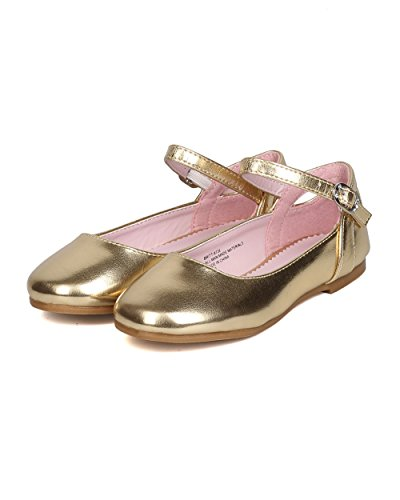 Girls Metallic Leatherette Ankle Strap Cut Out Ballet Flat GB36 - Gold (Size: Toddler 8) by Little Angel (Image #4)