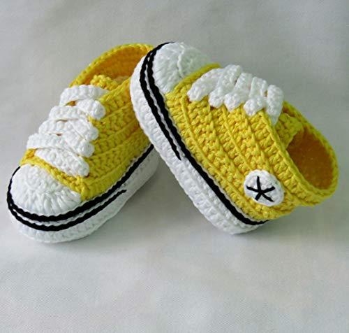 Patucos para Bebé Recién Nacido tipo Converse, 0-3 meses Amarillo. Handmade. Crochet. España: Amazon.es: Handmade