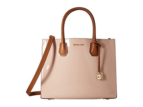 - MICHAEL Michael Kors Womens The Mercer Patent Leather Tote Handbag Pink Large