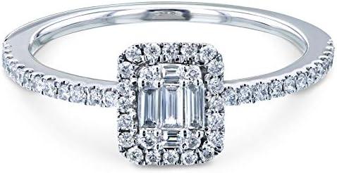 Kobelli Multi Diamond Rectangular Cluster Half Eternity Low Setting Ring