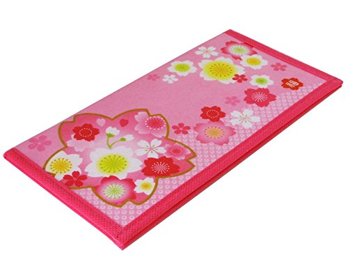 Charming Blossoms (Japanese Charming Strawberry Pink Cherry Blossom Rice Paper Wallet, Made in Japan)