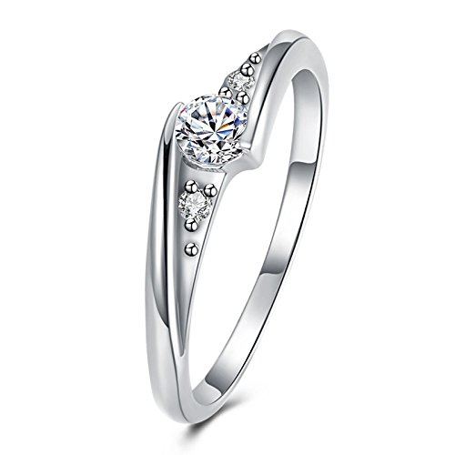 AnaZoz Silver Plated Cubic Zirconia Solitaire Classice Wedding Ring Bands for Her Size (Tungsten Carbide Transformers)