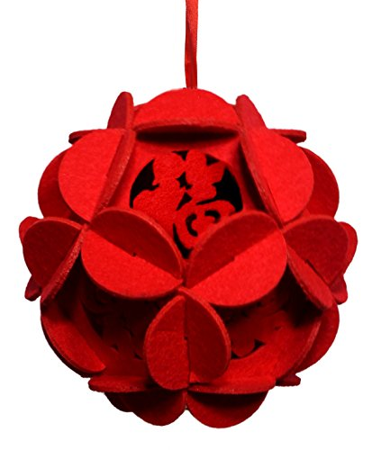Lucore Chinese Lucky Red Flower 3D Puzzle Lantern - Good Fortune & Luck Ornament, DIY Felt Art Craft Lucky Charm Decoration