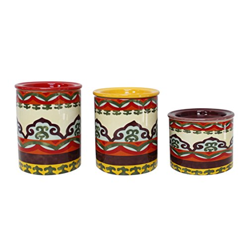 Euro Ceramica Galicia Collection Andalusian-Inspired Ceramic Lidded Kitchen Canisters, 3 Piece Set, Vibrant Assorted Patterns and Sizes, Multicolor - Galicia Collection