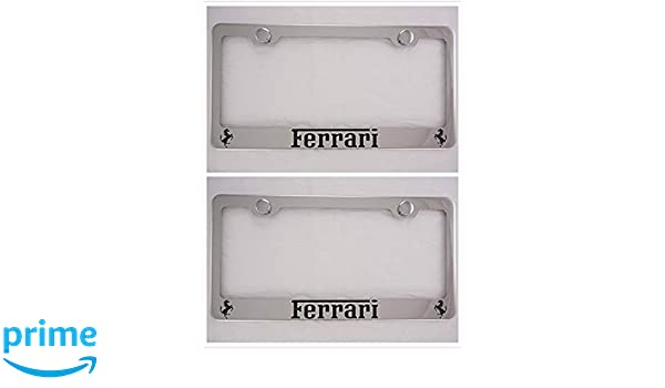 Sparkoo Genuine Stainless Steel License Plate Metal Chrome Silver Frame with Screw Cap Covers Holder for All Fe rrari 1