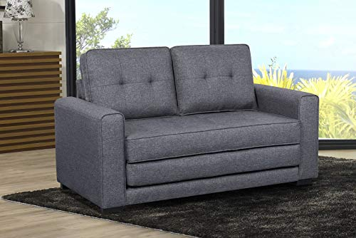 US Pride Furniture Daisy Modern Fabric Loveseat and Sofa Bed, Dark Grey (Small Sleepers Sectional)