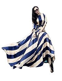 OURS Women's Long Sleeve 3/4 Sleeve High Waist Striped Evening Party Maxi Dress