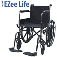 """EZee Life Standard Economy Wheelchair with Swing-Away Removable Footrest - 18"""" Seat Width"""