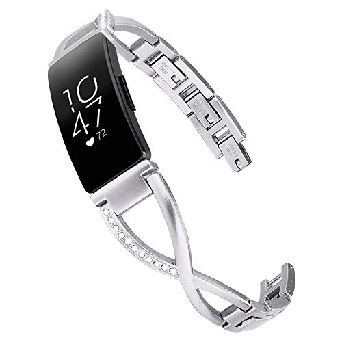 V-MORO Bracelet Compatible with Fitbit Inspire HR Bands Women Silver Jewelry Inspire Band Metal Stainless Steel Strap with Bling Stone Replacement for Fitbit Inspire/Inspire HR Smartwatch ()