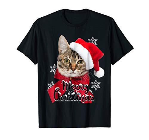 (Christmas Cat 3D Funny T Shirt Cat Lovers Santa)