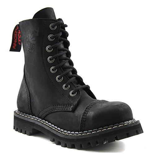 Angry Itch - 8-agujeros botas goticas punk de cuero negro - Número 36-48 - Hecho in EU!