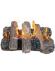 Gashaardstammen, grote keramische boomstammen voor gasopen haard, kunstmatig realistisch brandhouthoutstammen, set van 5, indoor outdoor voor open haard, vuurvaste en ventilatievrij