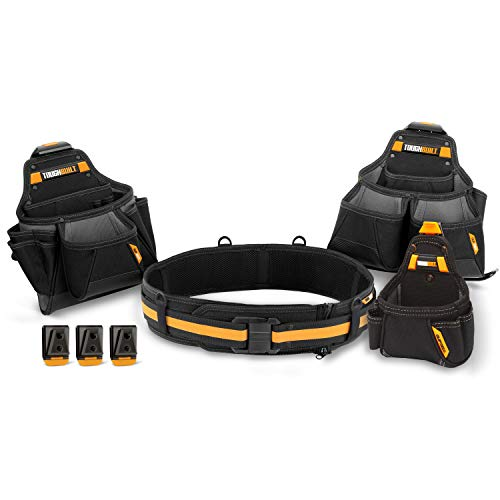 tor Tool Belt Set - Includes 3 Pouches, Padded Belt, Heavy Duty, Deluxe Premium Quality, Durable - 36 Pockets, Hammer Loop, 3 Patented ClipTech Hubs (TB-CT-101-4) ()