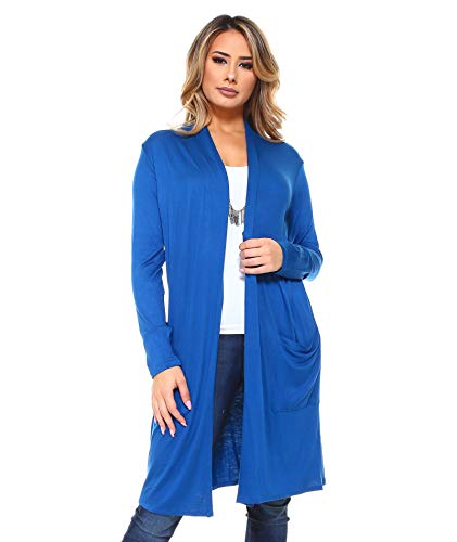 (Isaac Liev Women's Long Lightweight Cardigan with Front Pockets (2X-Large, Teal))