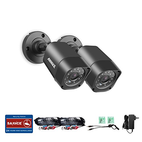 ANNKE 2 Packed TVI HD 720P Security In/Outdoor CCTV Bullet Camera with Weatherproof Housing, 66ft Super Night Vision, White
