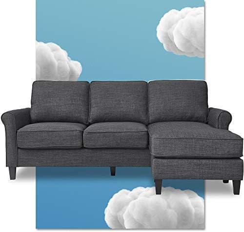 Serta Harmon Rolled Arm Reversible Sectional Sofa Living Room
