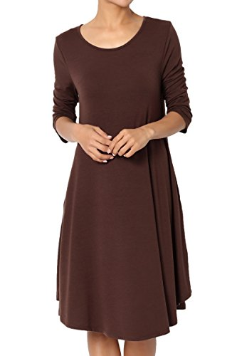 Sleeve 3 4 TheMogan Knit Trapeze 4 3 Dress T Shirt Basic Brown Loose Jersey Pocket wUBqUOX7W